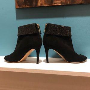 Kate Spade Glitter Suede Peep Toe Ankle Booties